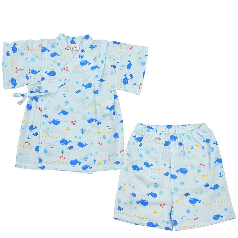 akachan honpo - 兩件式甚平-鯨魚-淺藍色