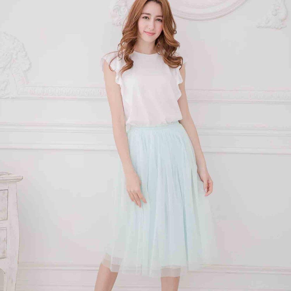 Peachy - 獨家訂製綿柔半身紗裙-半身中長版-薄荷綠 (F)
