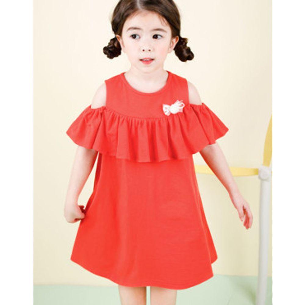 韓國 Jelispoon - 挖肩垂墜荷葉領洋裝