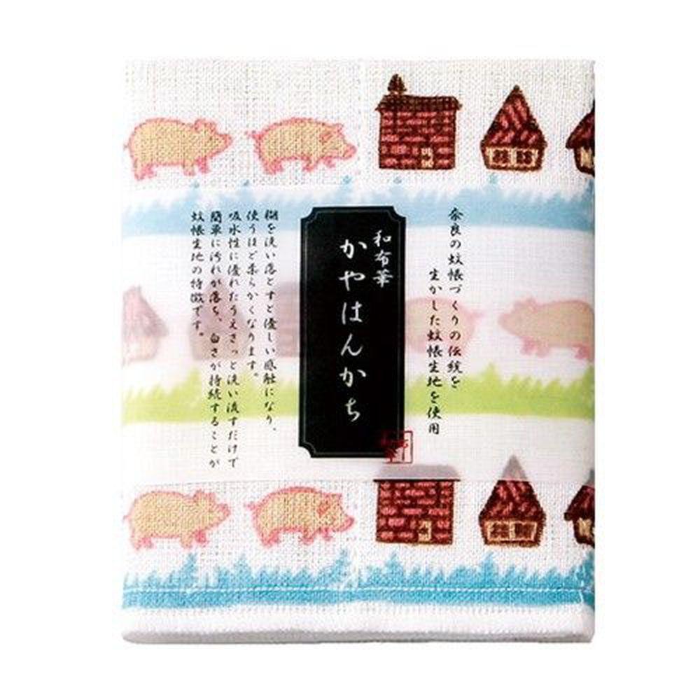 日本代購 - 【和布華】日本製奈良五重紗手帕-三隻小豬 (30x26cm)