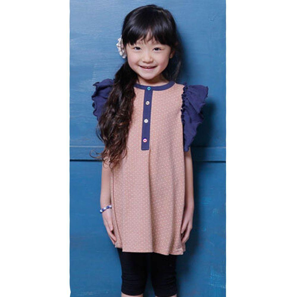 日本 TORIDORY - 荷葉邊拼接無袖洋裝-藕粉點點X深藍