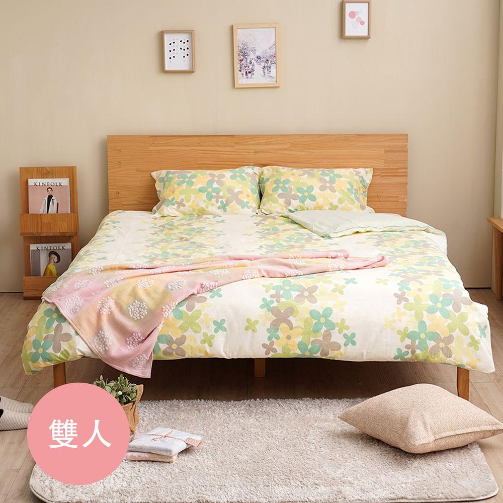 日本西村Westy - 波卡圓舞曲-標準雙人被套床包4件組-綠-標準雙人款4件組-綠 (190x210cm, 45x75cm, 150x186x30cm)-雙人被套x1 + 枕頭套x2, 素色標準雙人床包x1