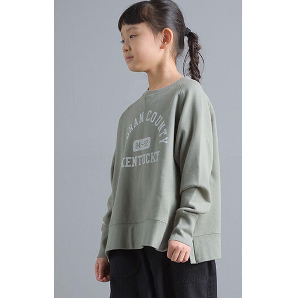 日本女裝代購 - 純棉裏毛美式字母大學T(小孩)-灰綠