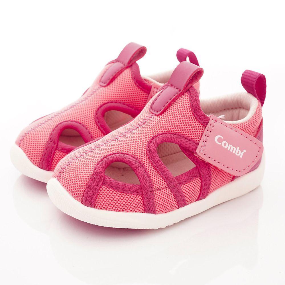 日本 Combi - 機能童鞋/學步鞋-護趾透氣學步涼鞋(寶寶段)-粉