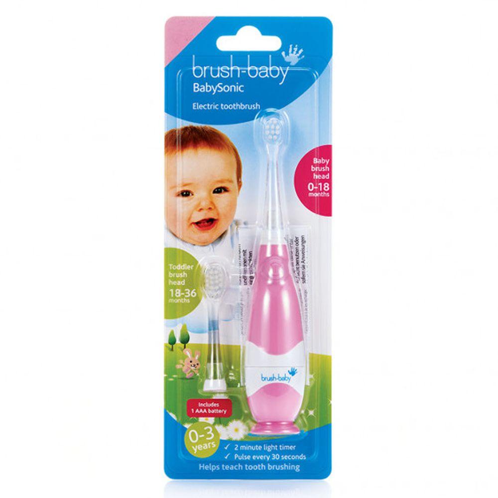 英國 brush-baby - 嬰幼兒聲波電動牙刷(0-3歲用)-粉紅