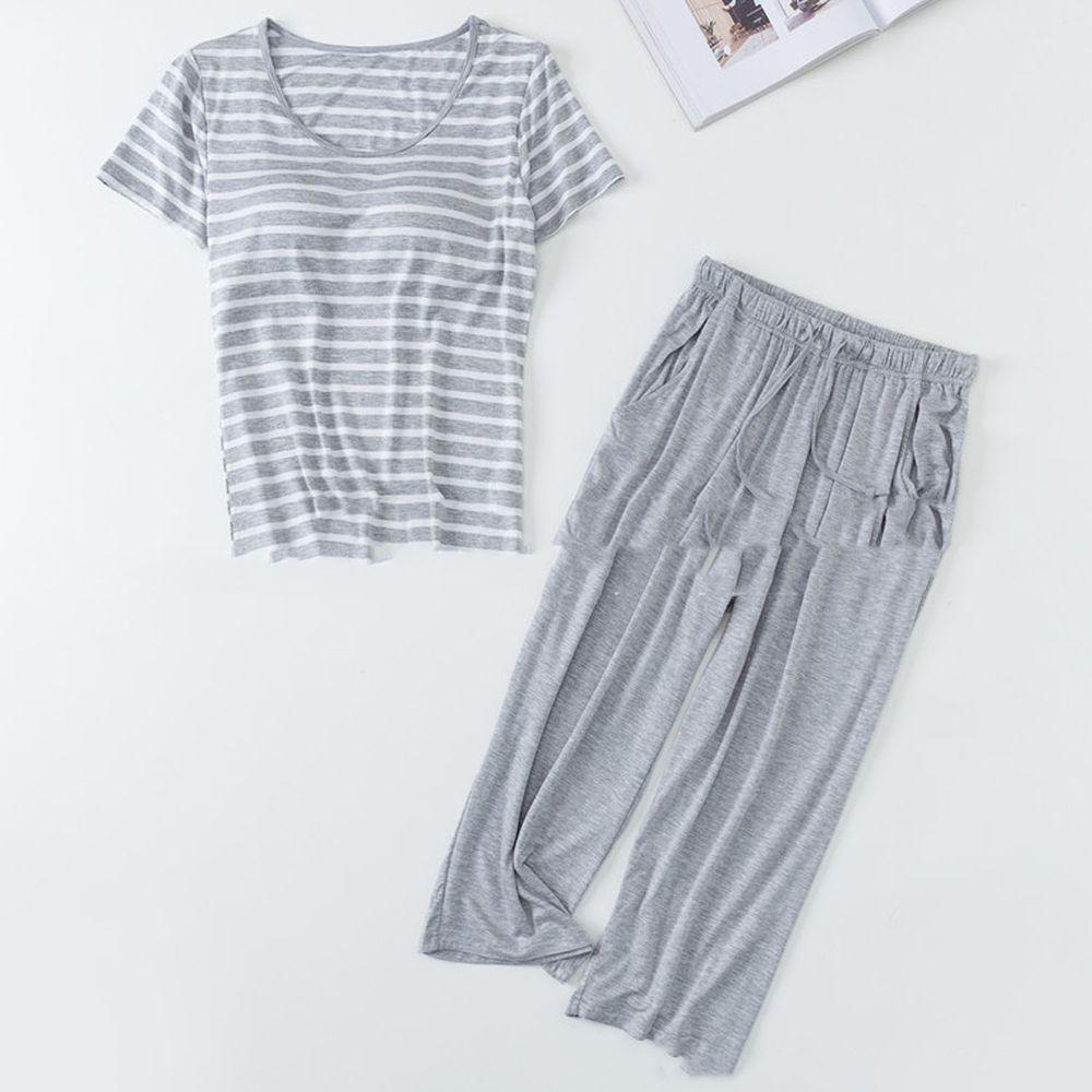 莫代爾柔軟涼感Bra T家居服-七分褲套裝-灰白條紋