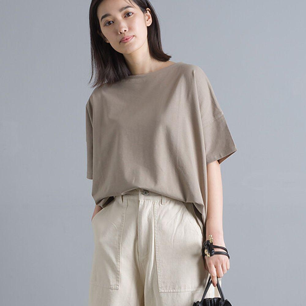 日本女裝代購 - 純棉落肩彈性短T-摩卡 (Free size)