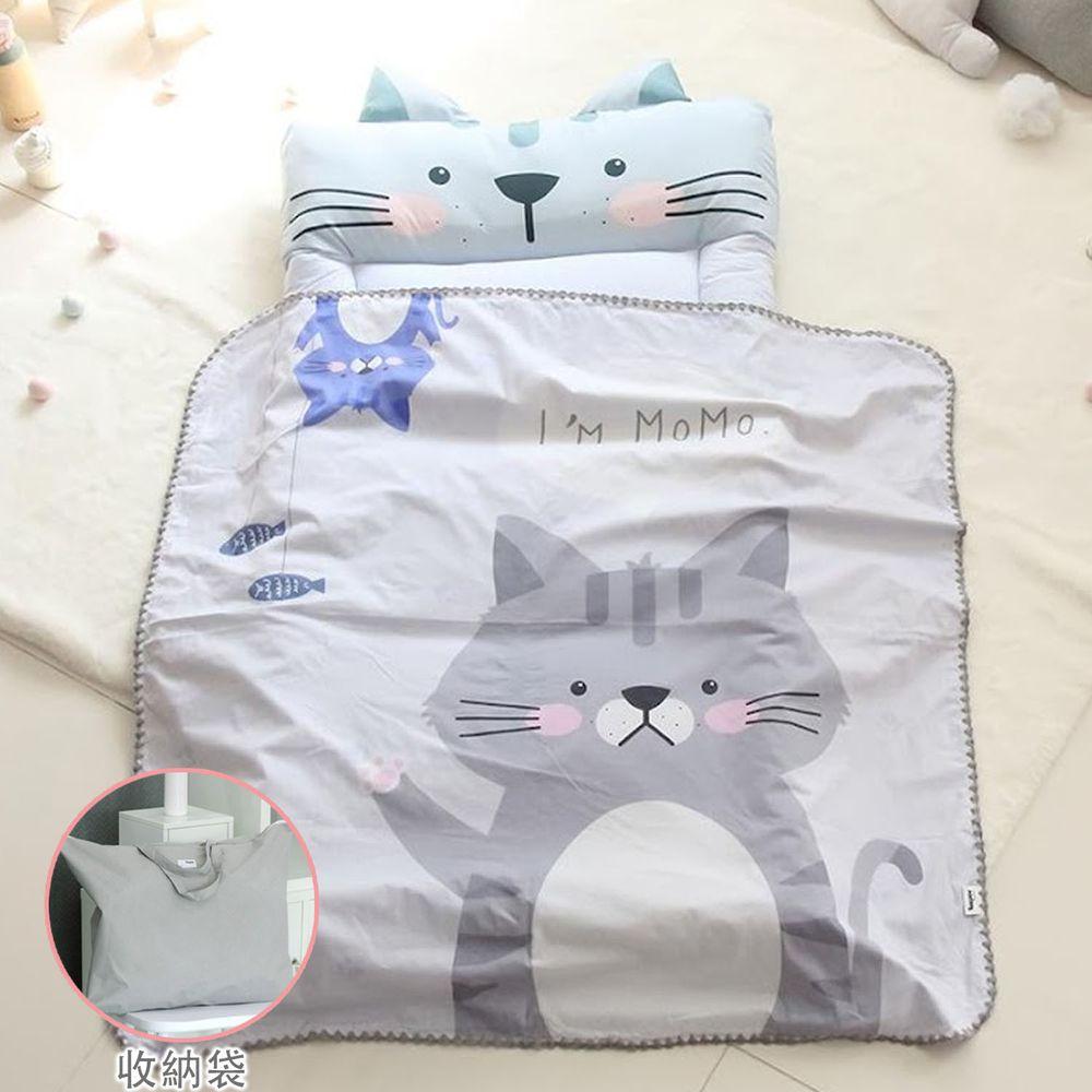 韓國 Teepee - 5CM雙面厚墊兒童睡袋/寢具(無拉鏈)(附收納袋)-害羞小貓咪