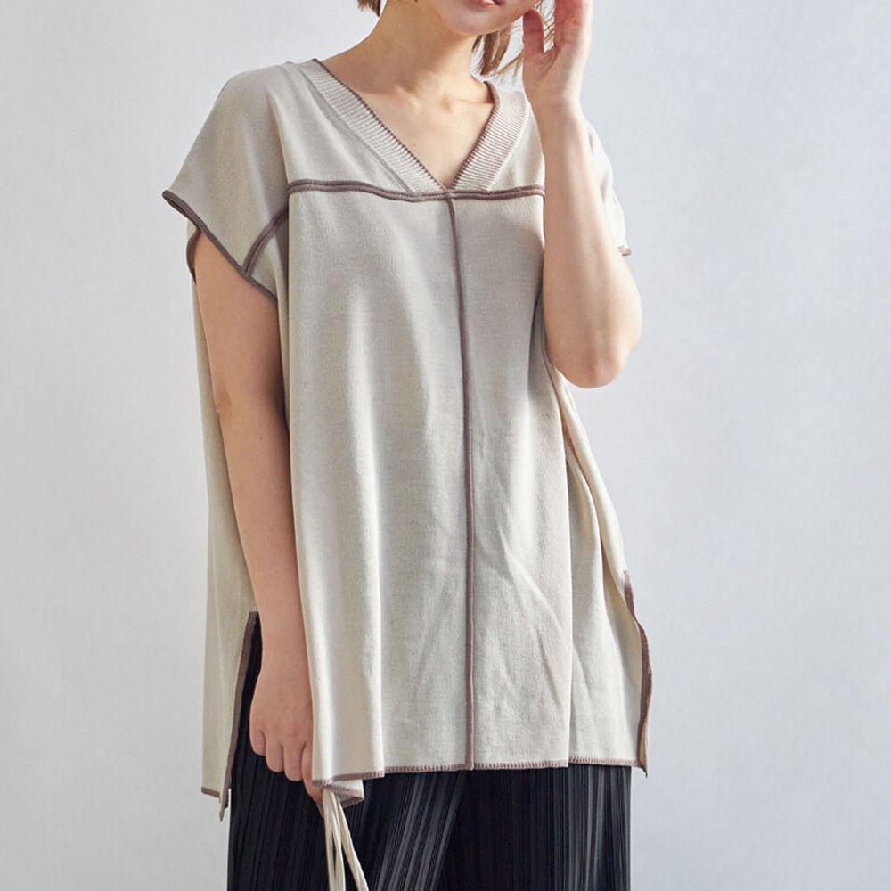 日本 Rejoule - 2way撞色線條針織短袖上衣-沙杏 (M(Free size))
