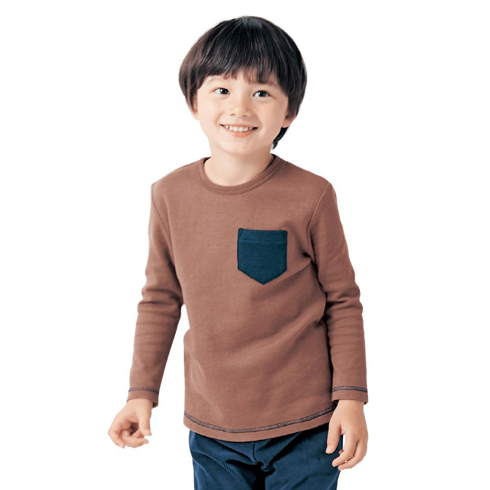 日本千趣會 - GITA 純棉輕薄舒適長T-口袋-咖啡