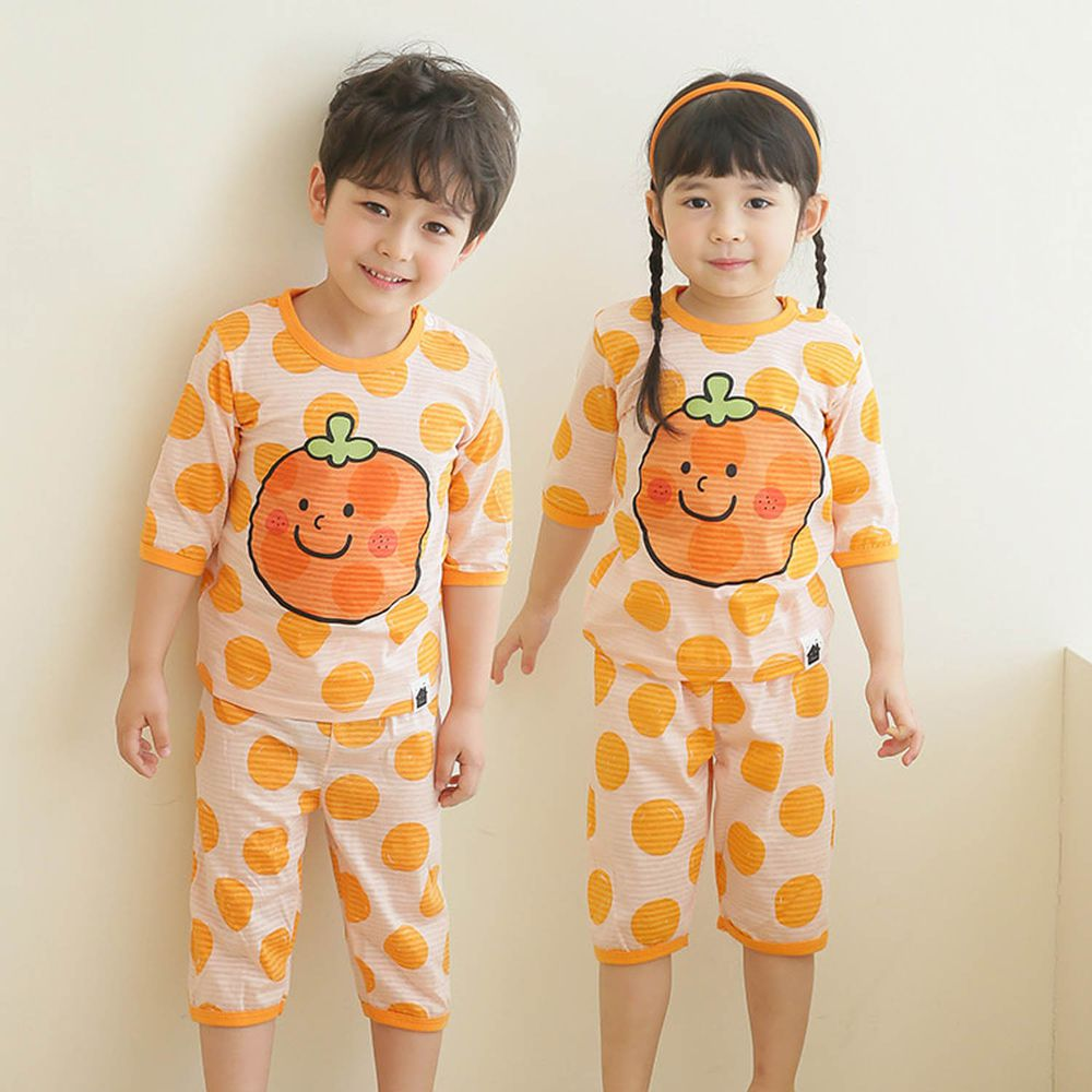 韓國 Puco - 有機棉透氣七分袖家居服-可愛橘子