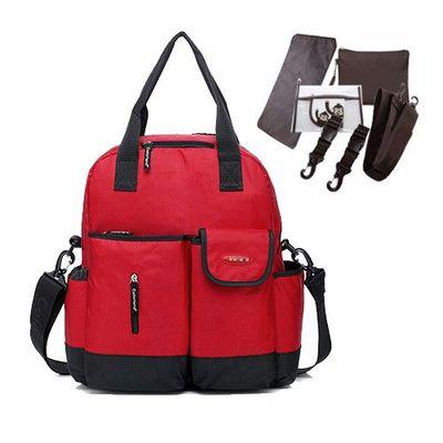 『一包四用款』大容量媽咪包-買一送五-紅色-五件組(車掛扣+濕物袋+隔尿墊+斜背帶+隨身物品包)