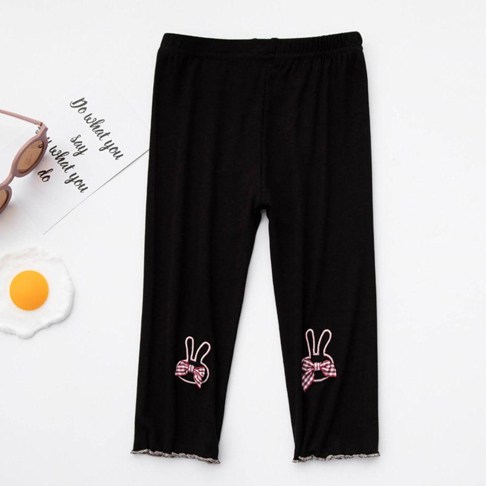 FANMOU - 七分內搭褲(莫代爾)-小兔-黑色