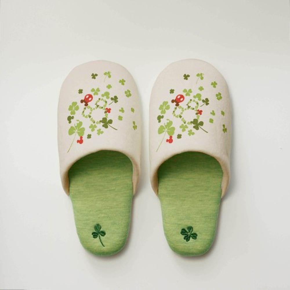 日本千趣會 - 迪士尼室內拖鞋-米奇幸運草-米綠