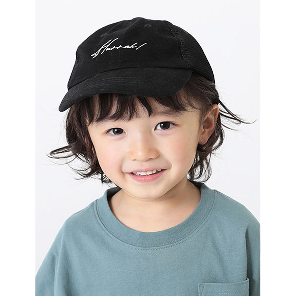 日本 devirock - 復古刺繡透氣兒童鴨舌帽-黑