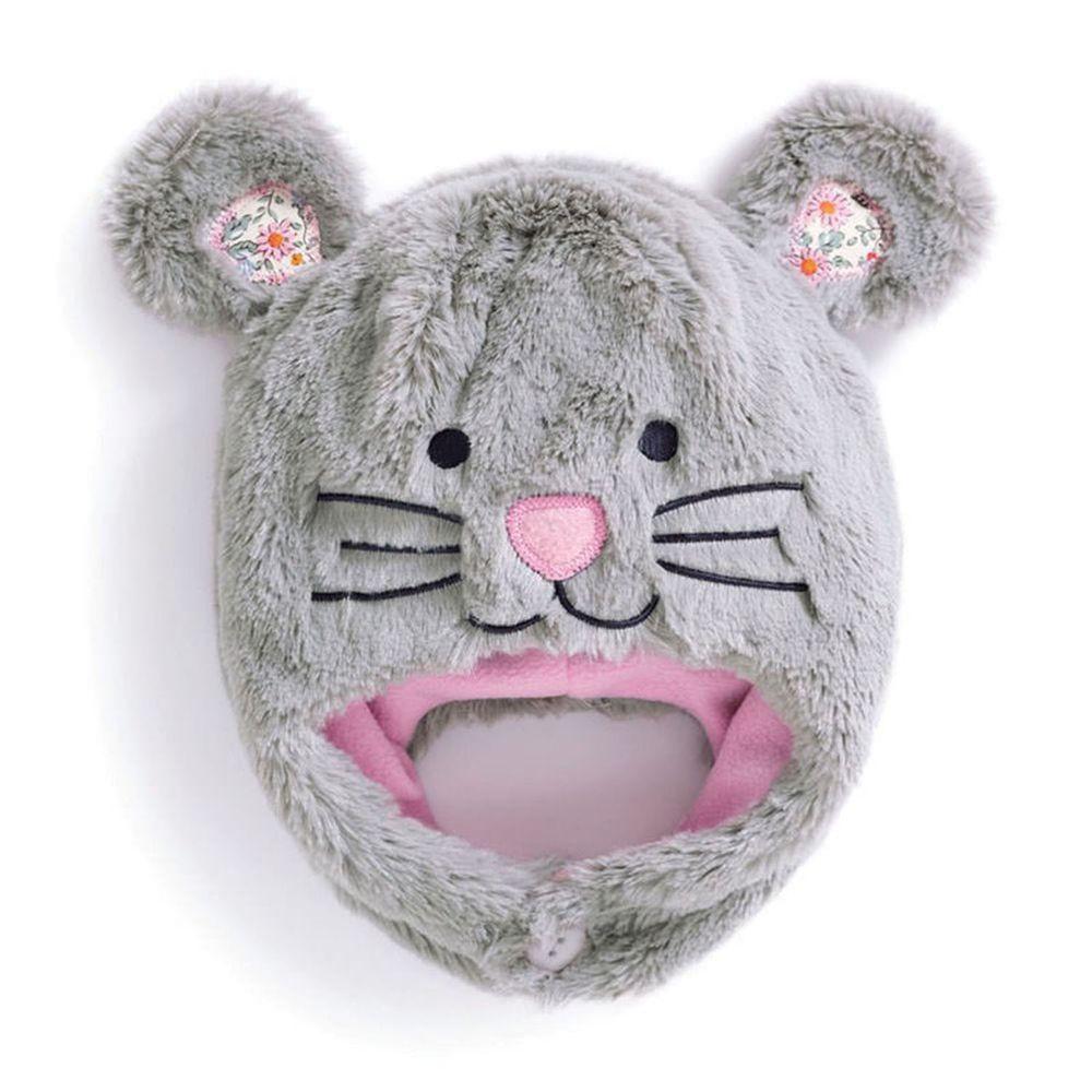 英國 JoJo Maman BeBe - 保暖舒適羊毛帽-灰色老鼠