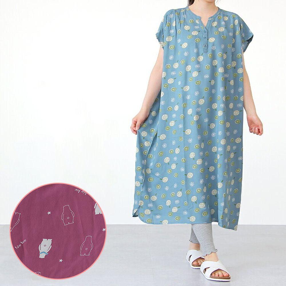 日本女裝代購 - COOL 涼感柔軟舒適家居短袖洋裝/睡衣-北極熊-紫 (M-L Free)