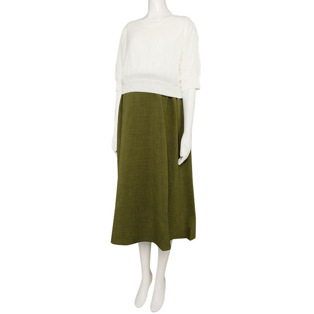 akachan honpo - 假兩件洋裝-軍綠色