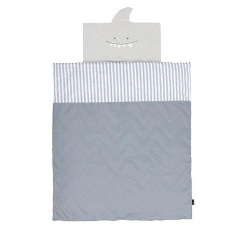 韓國 Conitale - 純棉兒童睡袋(防蟎抗菌枕頭)-條紋鯊魚-(附防塵袋1, 超細纖維枕頭1)