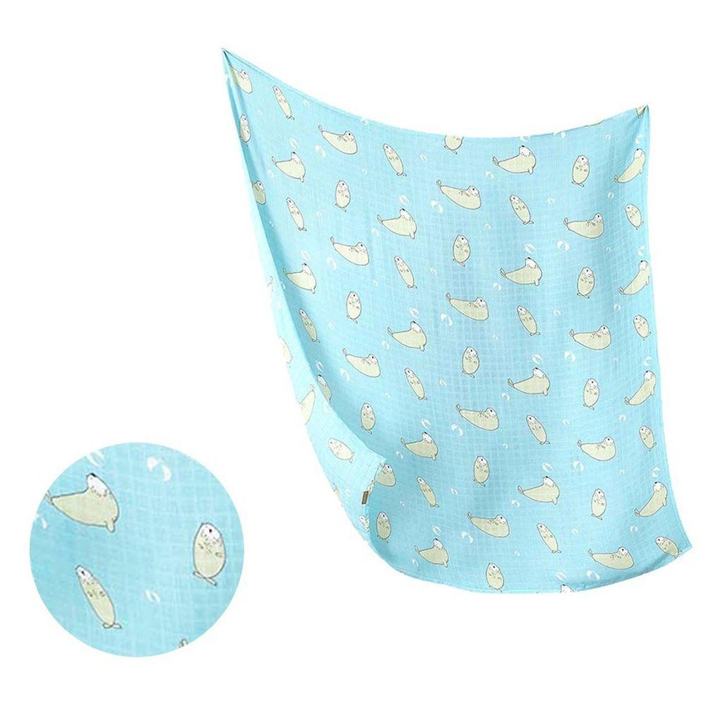 柔仕 - 棉柔紗布包巾毯-藍海白豹
