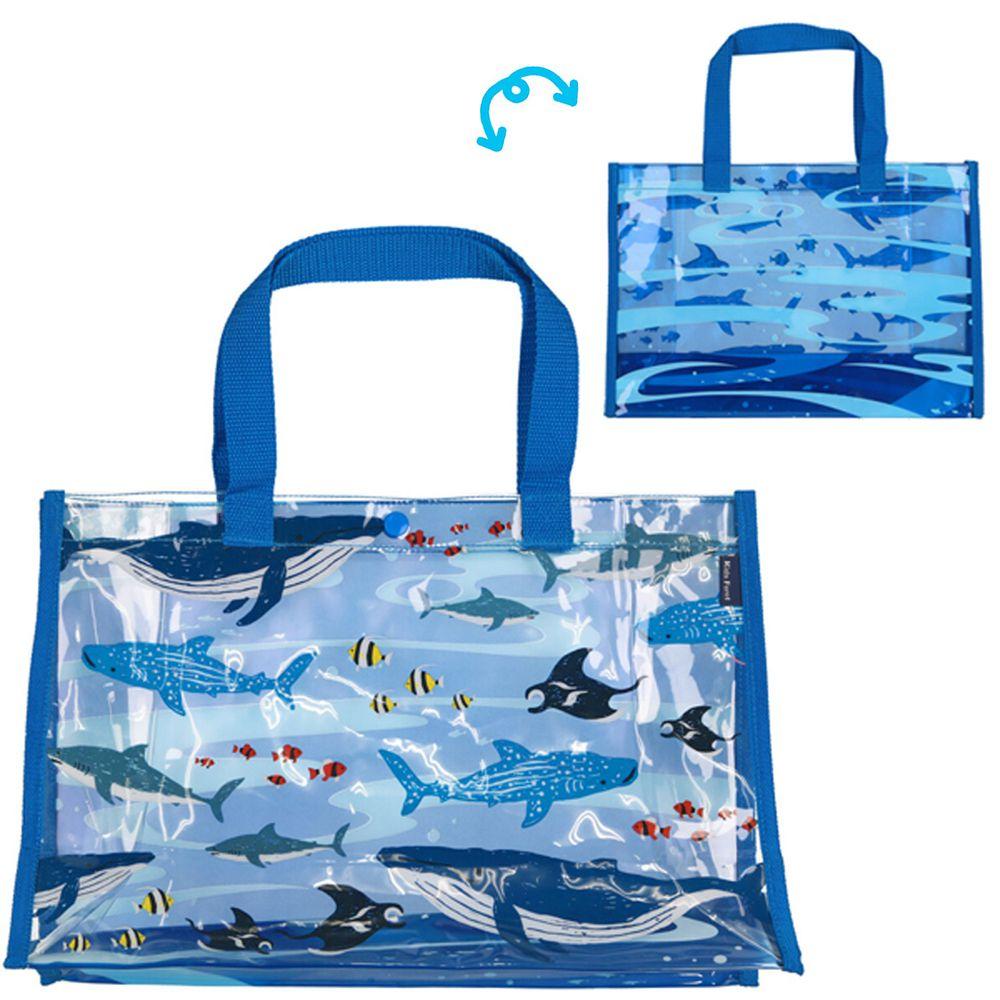 日本服飾代購 - 防水PVC游泳包(雙面圖案設計)-海中生物-藍 (25x36x13cm)