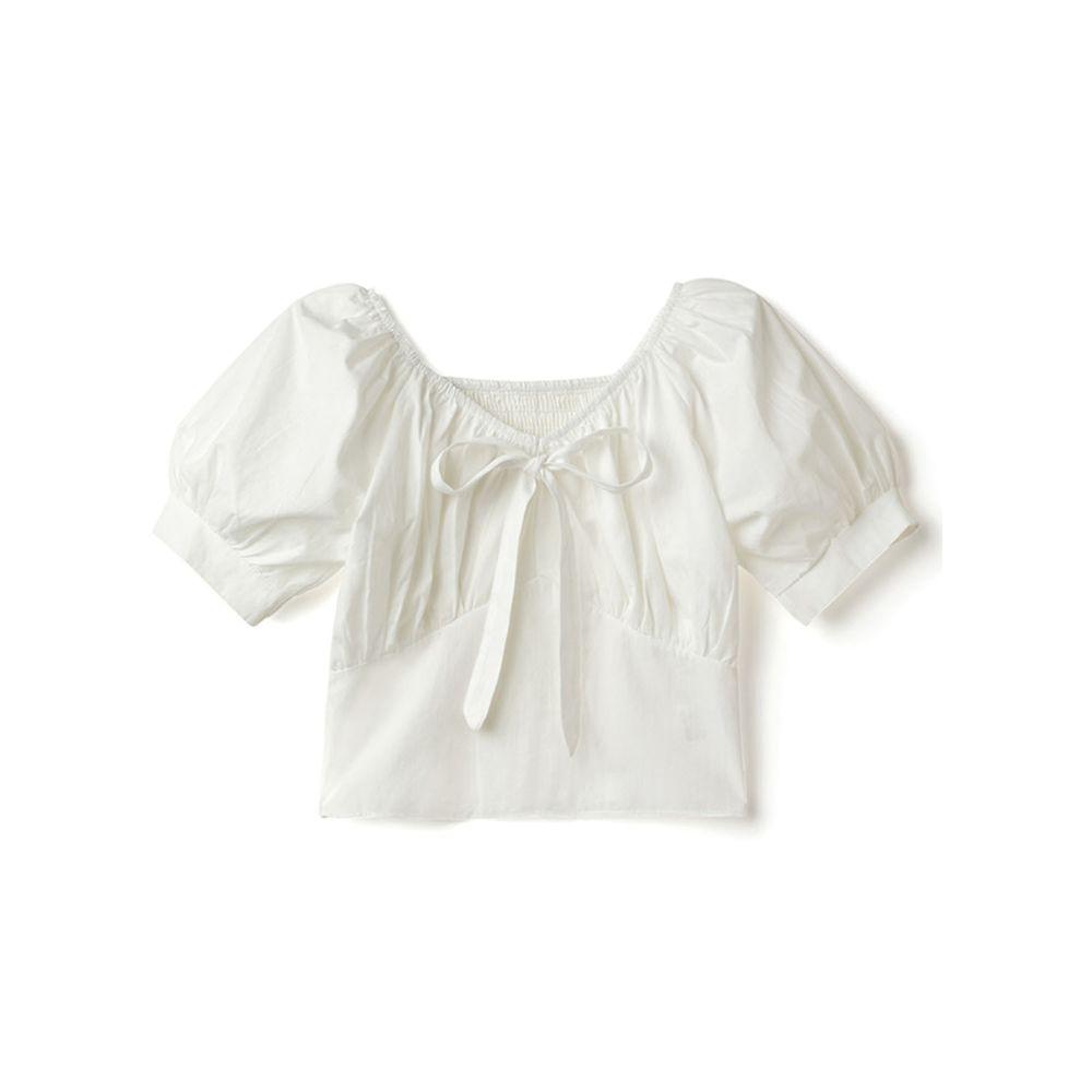 日本 GRL - 氣質抓皺U領蝴蝶結綁帶短版短袖上衣-天使白