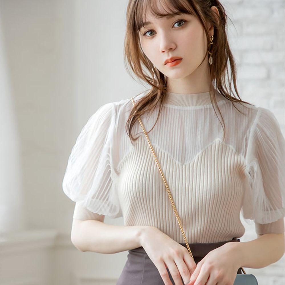 日本 GRL - 薄紗透膚異材質拼接澎澎袖短袖上衣-米