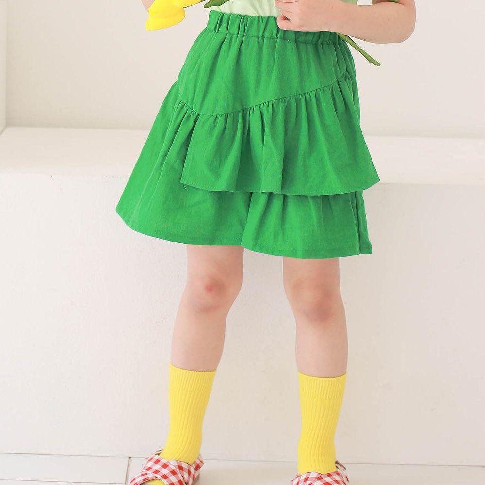 韓國 Dalla - 不對稱荷葉褲裙-綠