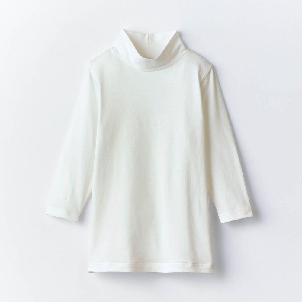 日本千趣會 - 95%棉 (兒童)九分袖高領發熱衣-白