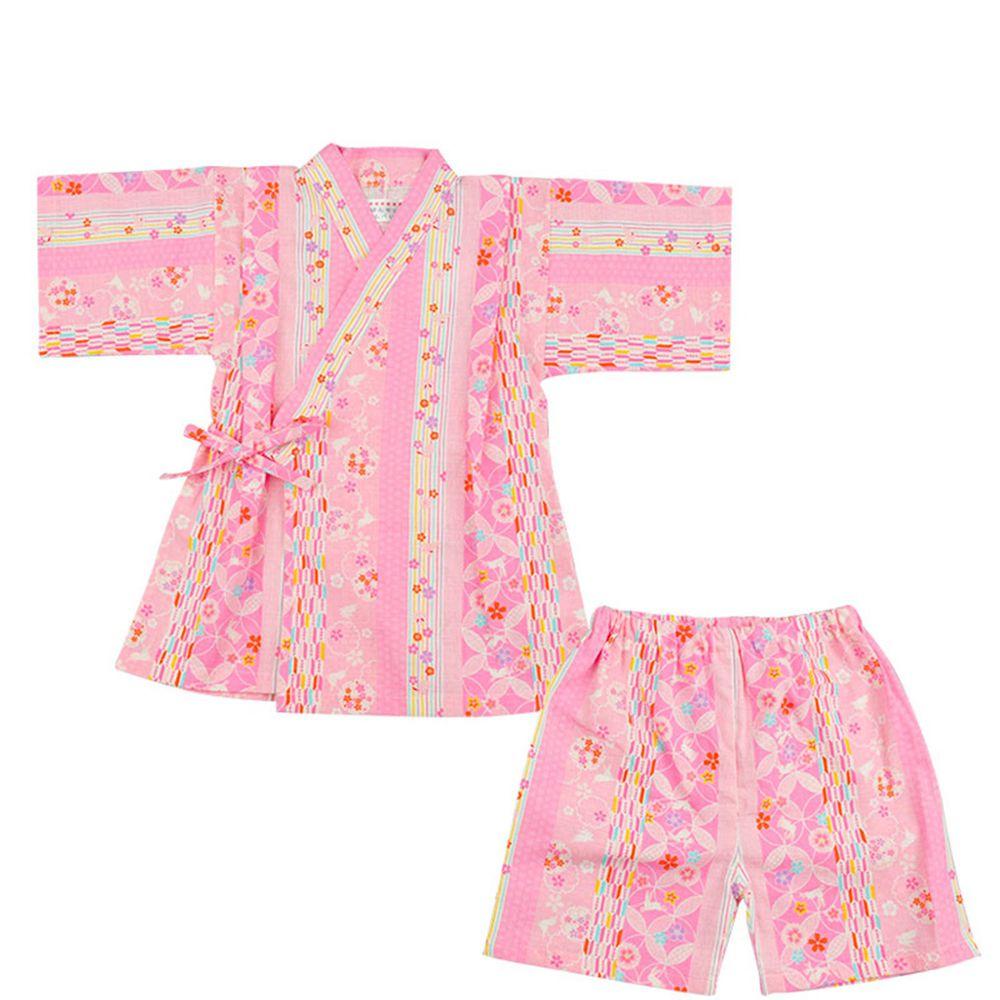 akachan honpo - 幼童兩件式甚平-粉紅色