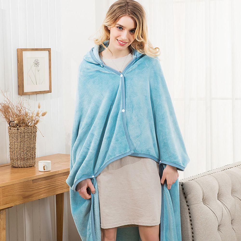 保暖珊瑚絨披肩懶人毯-水藍純調 (1.5mx1m(帽子可拆))