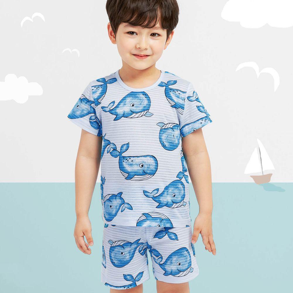 韓國 Mellisse - 韓製透氣輕薄短袖家居服(無螢光棉)-藍色鯨魚