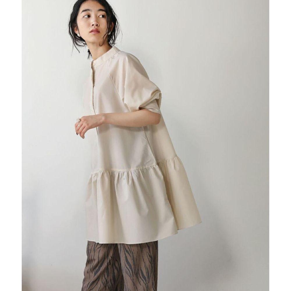 日本 Bou Jeloud - 寬版荷葉長版微高領七分袖上衣-杏