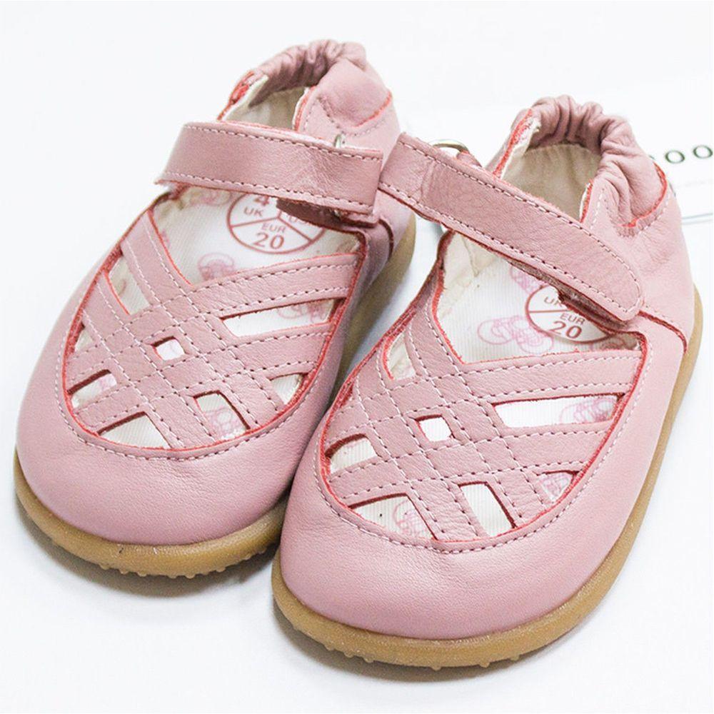 英國 shooshoos - 健康無毒真皮手工涼鞋/童鞋-粉色編織