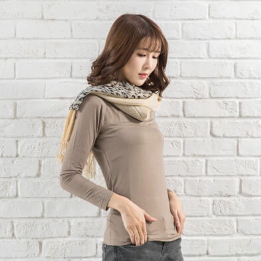 貝柔 Peilou - TENCEL日本吸濕發熱纖維保暖衣-女圓領-咖啡