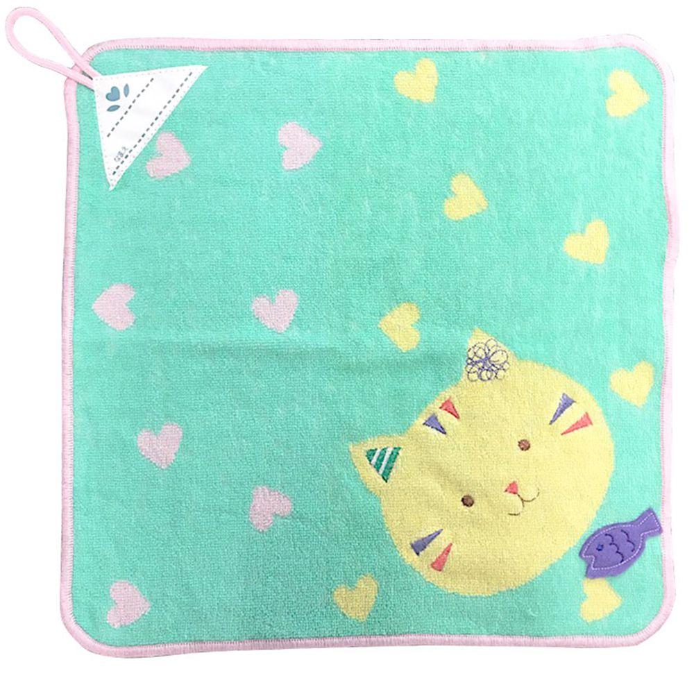 akachan honpo - 擦手巾pocket town-微笑動物-淺藍色-34×34cm