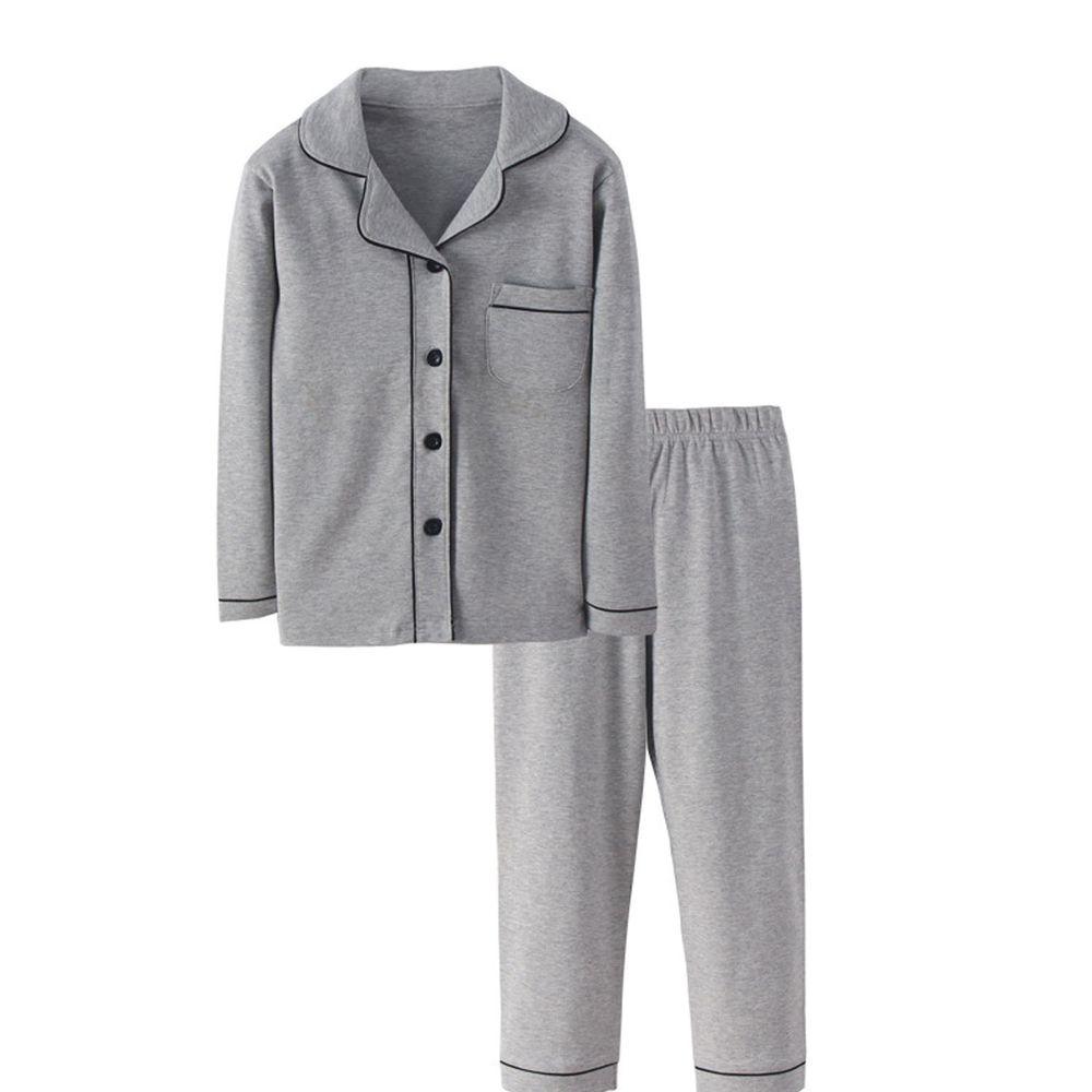 純棉排扣睡衣套裝-灰色