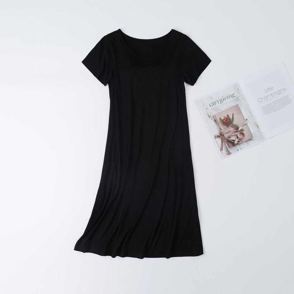 莫代爾柔軟涼感Bra T睡裙-黑色