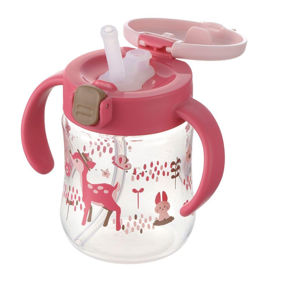 日本 Richell 利其爾 - 花間鹿吸管水杯-200ML-紅/粉-7個月適用
