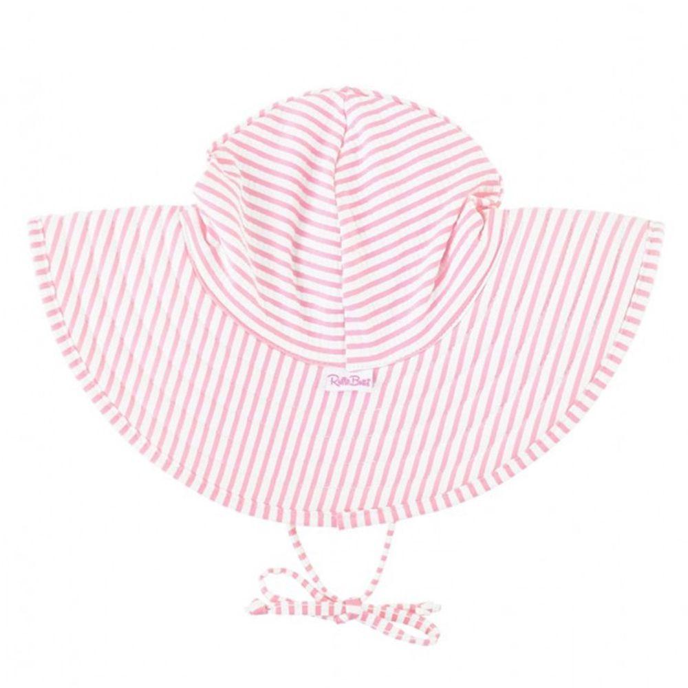 美國 RuffleButts - 嬰幼兒UPF 50+防曬遮陽帽-淡粉條紋