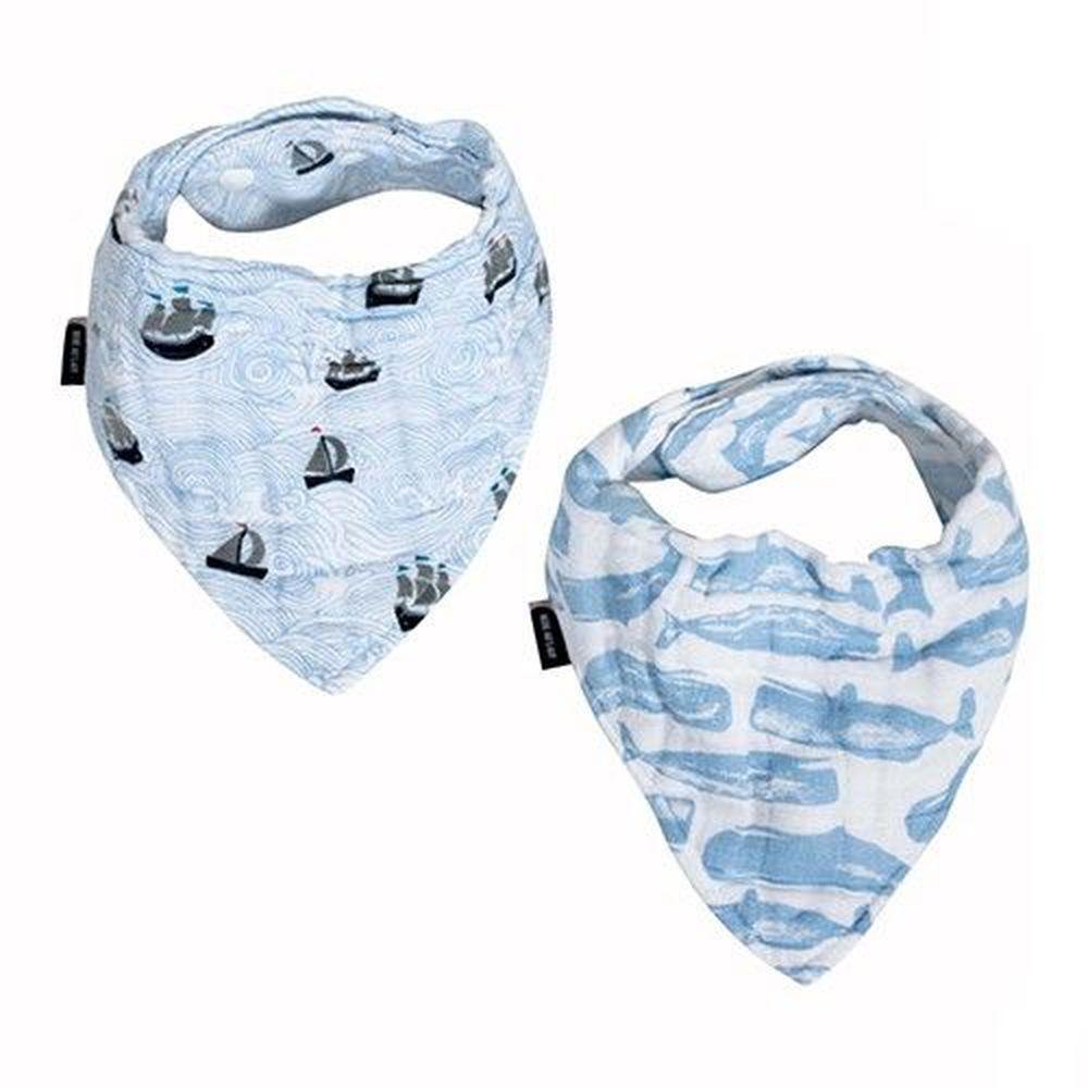 美國 Bébé au Lait - 經典棉紗布圍巾/圍兜兜-帆船小鯨魚-2 入裝