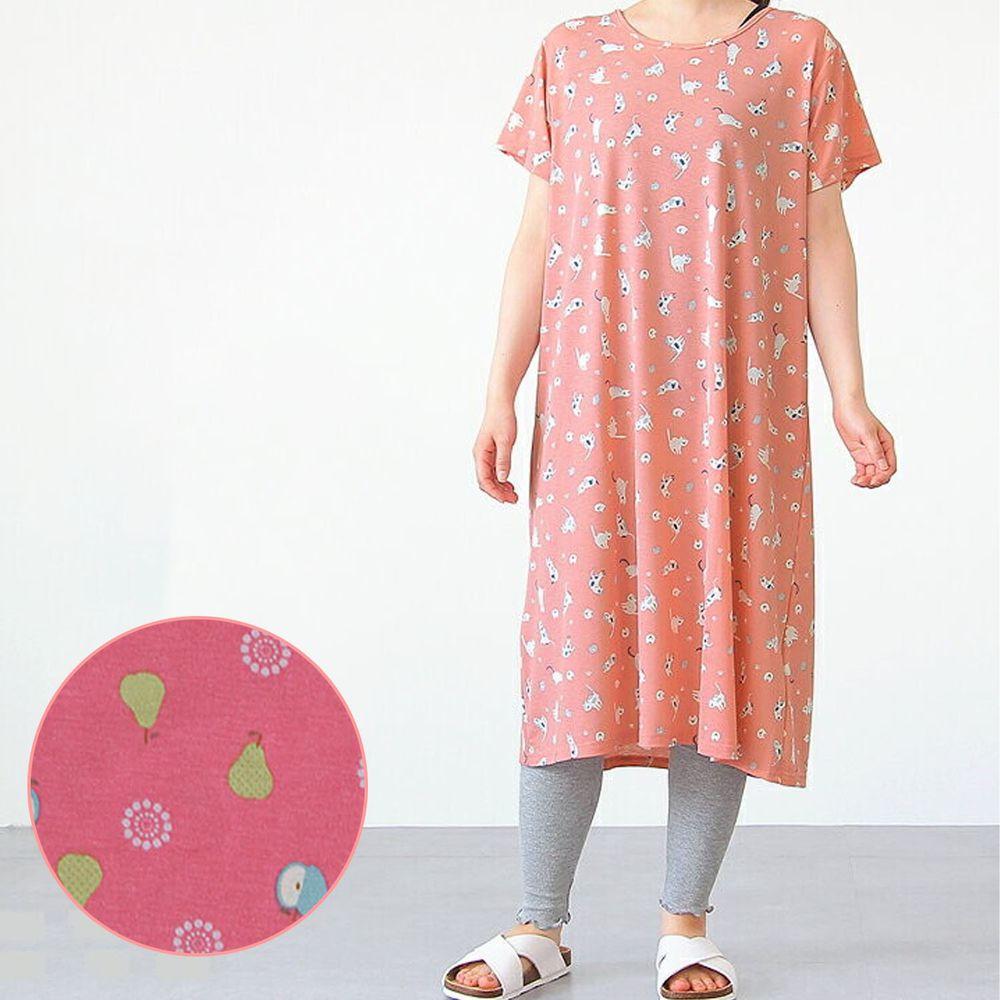 日本女裝代購 - DRY 涼爽快乾舒適家居短袖洋裝/睡衣-水果-粉 (M-L Free)