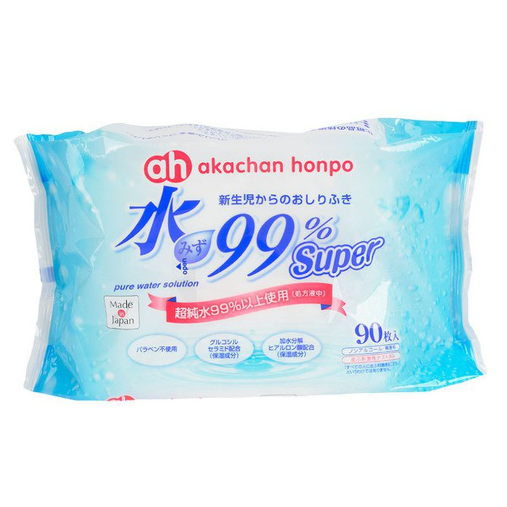 akachan honpo - 水99% Super 新生兒屁屁濕紙巾一般型-90張x1包
