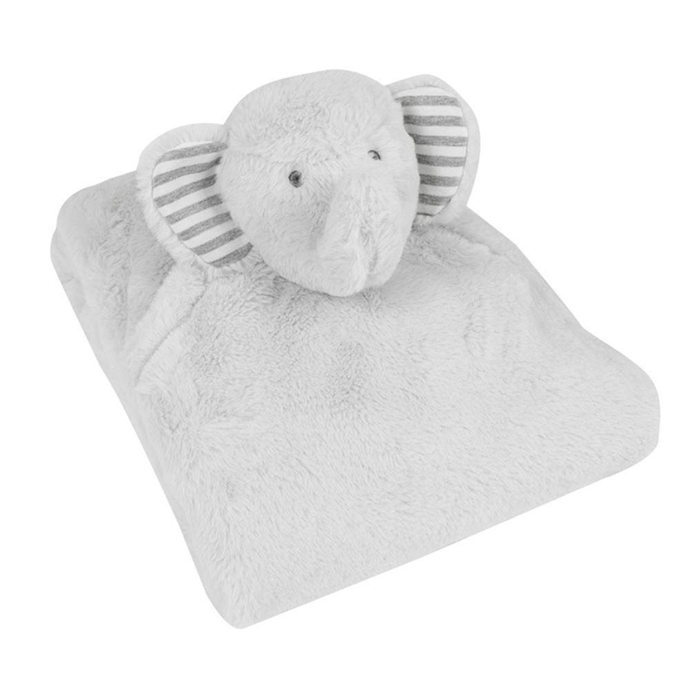 英國 JoJo Maman BeBe - 超細緻柔軟可愛大象毛毯-灰白小象