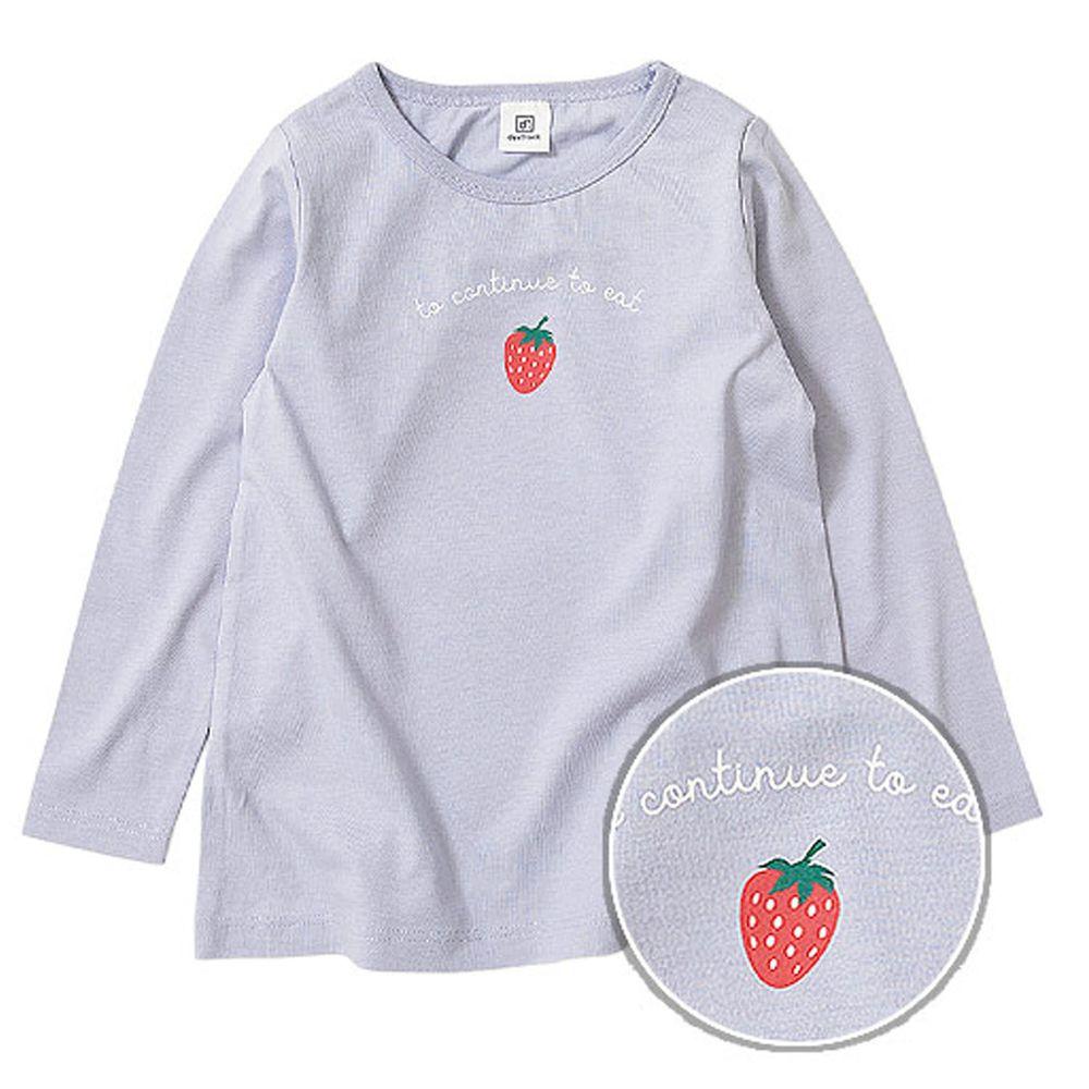 日本 devirock - 純棉 定番百搭印花長T-草莓-灰藍