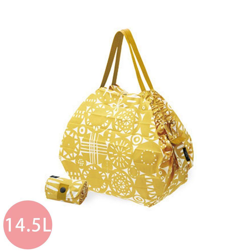 日本 MARNA - Shupatto 秒收摺疊購物袋-北歐聯名限量款-暖陽幾何(Retro) (M(30x35cm))-耐重5kg / 14.5L