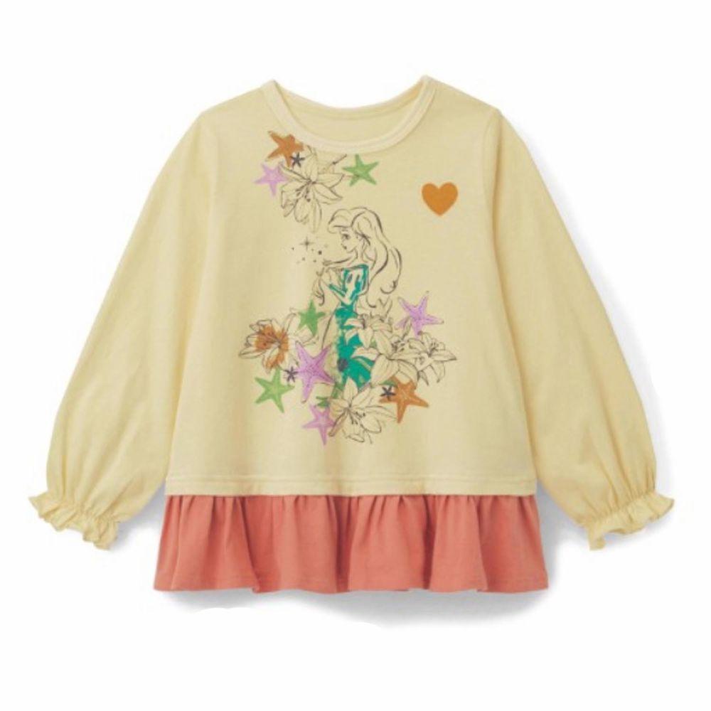 日本千趣會 - (120現貨)迪士尼荷葉衣襬長袖上衣-小美人魚-黃