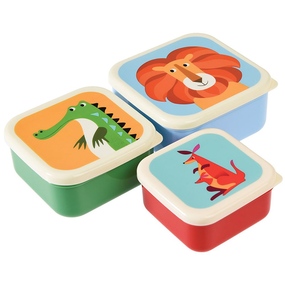 英國 Rex London - 餐盒/零食盒3入組-袋鼠&朋友