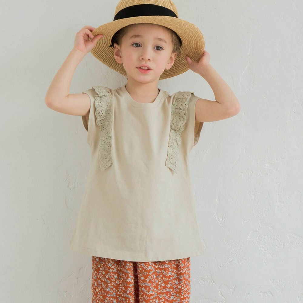 日本 PAIRMANON - 純棉雕花蕾絲拼接一分袖T-杏