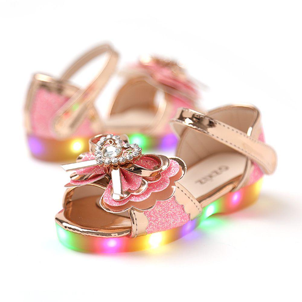 韓國 OZKIZ - (LED)愛心寶石亮粉涼鞋